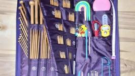 Набор 187шт. Спицы прямые и чулочные бамбуковые, крючки и инструменты