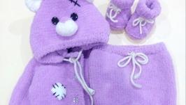 Комплект для новонародженоно, ведмедик Тедді (кофта, штанці, пінетки)