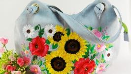 Сумка из джинсовой ткани Сумка голубая Букет полевых цветов Вышивка