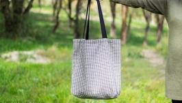 Эко сумкашоппер ′Черно белая клеточка′