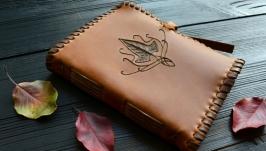 Шкіряний блокнот з ельфійським плющем (коричневий)