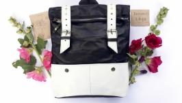Кожаный рюкзак большой ′Ажгон′ черно-белый