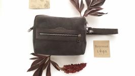Замшевая сумка 2 положения ′Кориандр′ серая