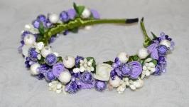 Ободок фиолетово-белый