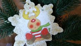 Новорічні прикраси з дерева ′Веселий олень′