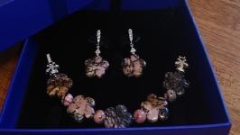 Комплект ′Родонитовые цветы′