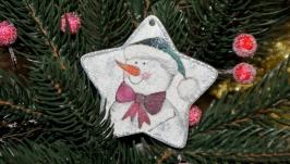 Ялинкові прикраси з дерева ′Сніговик′