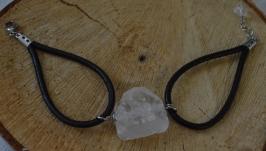 Кожаный браслет с горным хрусталем ′Горный кристалл′