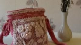 Розовая вязаная сумочка′ Веселое настроение′