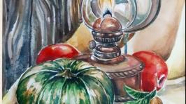 Картина ′ Тепло осені′ акварельний живопис
