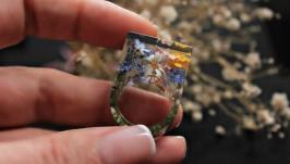 Кольцо с настоящими цветами.Незабудка,ромашка,лютик,вереск