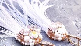 Позолочені сережки з натуральними перлами та кристалами подарунок новий рік
