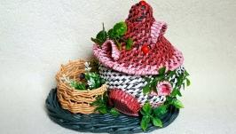 Плетеная шкатулка-книга из бумажной лозы