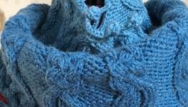 Вязаный бесшовный шарф-снуд цвета «джинс»