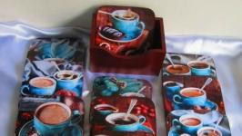 Набор подставок под чашки ′Вкус кофе′, декупаж