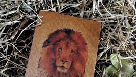 Деревянный блокнот ручной со львом