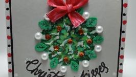 Открытка ручной работы ′Рождественский поцелуй′