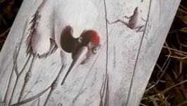 тут изображено Деревянный блокнот ручной работы с цаплей (цвет дуб)