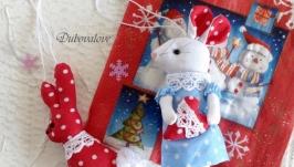 Набір авторських новорічних ялинкових текстильних іграшок № 2