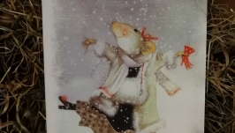 Блокнот деревянный ручной с танцующий мышкой