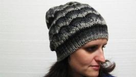 Смугаса шапка зв′язані спицями з 100% вовни секційного фарбування