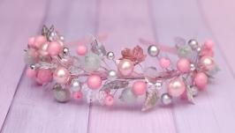 Обруч ободок розово-серебристый