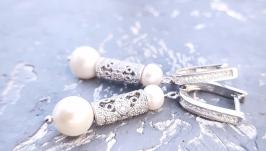 Сережки з якісних натуральних перлів у сріблі