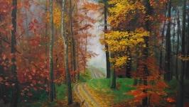 Осенний пейзаж картина маслом .