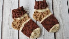 Детские вязаные плотные шерстяные носки