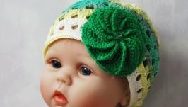 Летняя ажурная вязаная шапочка-панамка с цветком для девочки