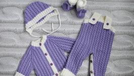 Вязаный теплый комплект из 100%-ной шерсти мериноса для новорожденного