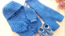 Костюм для новонародженого, ручної роботи (кофта, штани, пінетки)