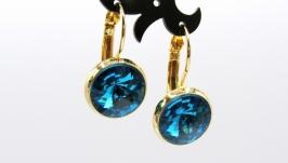 Серьги ′Классика голубой′ ювелирное стекло позолота хрусталь