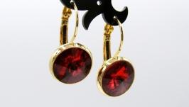 Серьги ′Классика красный′ ювелирное стекло позолота хрусталь