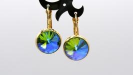 Серьги ′Классика тропик′ ювелирное стекло позолота хрусталь