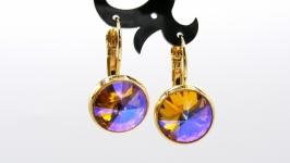 Серьги ′Классика топаз′ ювелирное стекло позолота хрусталь