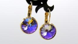Серьги ′Классика эдельвейс′ ювелирное стекло позолота хрусталь