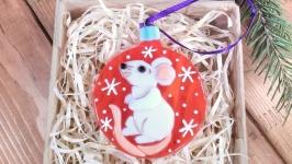 Белая Крыса (красный)-символ 2020 года - коллекционная ёлочная игрушка