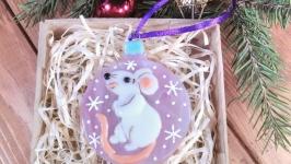 Белая Крыса (розовый)-символ 2020 года - коллекционная ёлочная игрушка
