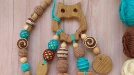 Набор для малыша грызунок прорезыватель Сова и держатель, вязаная игрушка о