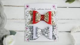 Блестящие новогодние бантики заколочки для девочки  Заколки в подарок малы