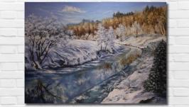 Картина маслом ′Зима′ 50х70 см., холст на подрамнике, маслом