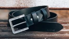 Мужской ремень premium с серебряной пряжкой