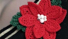 Текстильна брошка різдвяна квітка пуансеттія