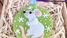 Белая Крыса (салатовый)-символ 2020 года - коллекционная ёлочная игрушка