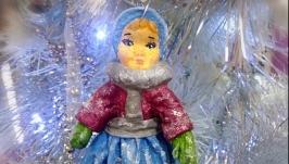 Ватная игрушка зимняя девочка