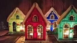 Подсвечник ′Рождественский домик′ терракотовый цвет