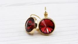 Серьги ′Swarovski Scarlet Классика′  позолота хрусталь