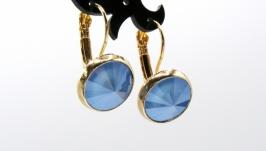 Серьги ′Swarovski Summer Blue Классика′  позолота хрусталь