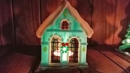 Подсвечник ′Рождественский домик′ бирюзовый цвет